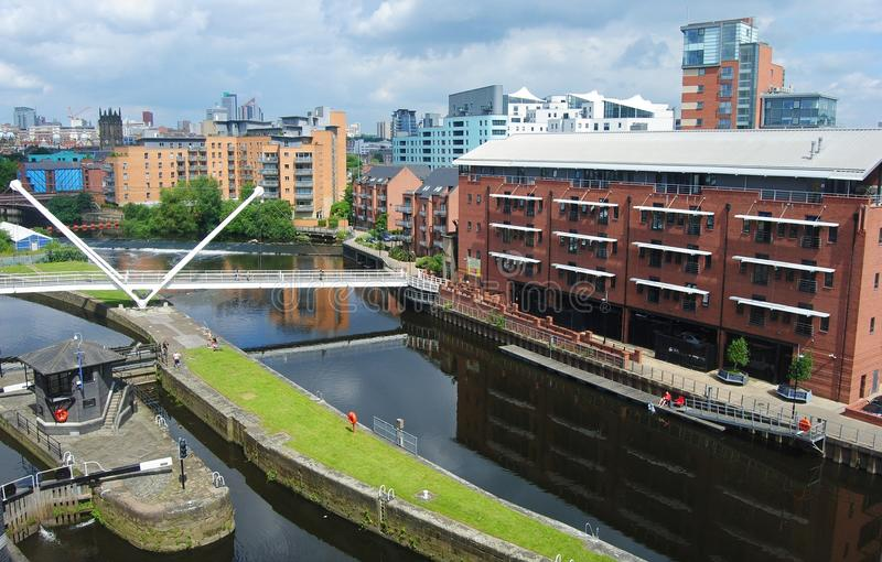 River Aire waterfront in Leeds royalty free stock image