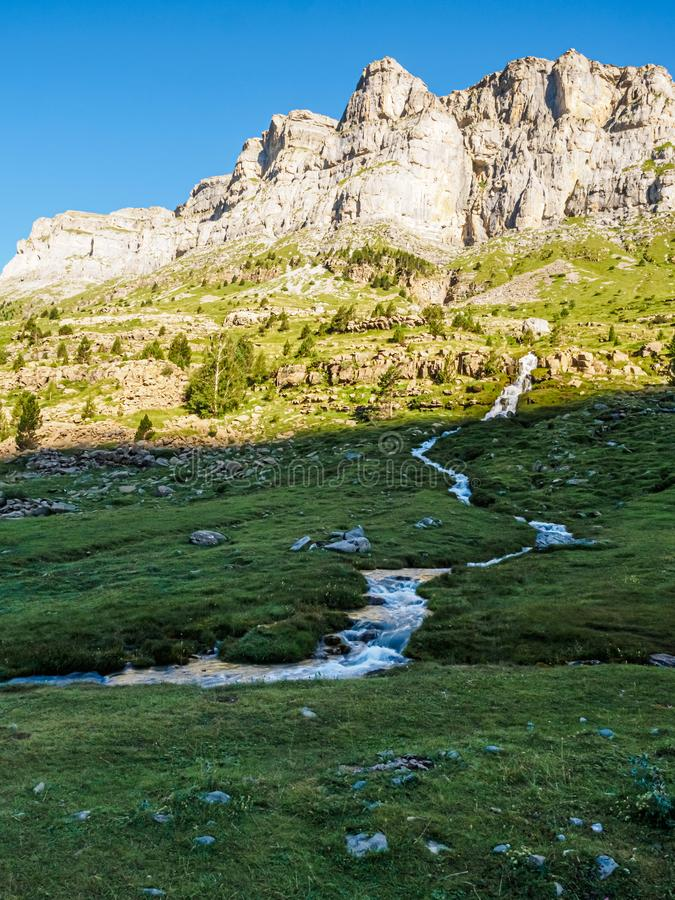 River in the Arazas river valley in the Ordesa y Monte Perdido national park in the Pyrenees stock photo