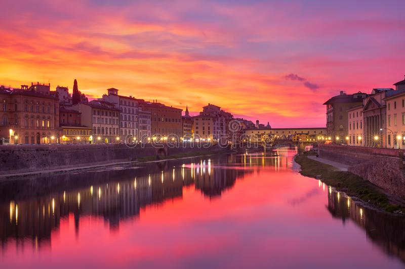 River Arno and Ponte Vecchio in Florence, Italy stock photography