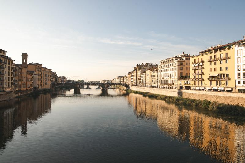 River Arno in Florence, city landscape in a sunny day with views from Ponte Vecchio stock photos