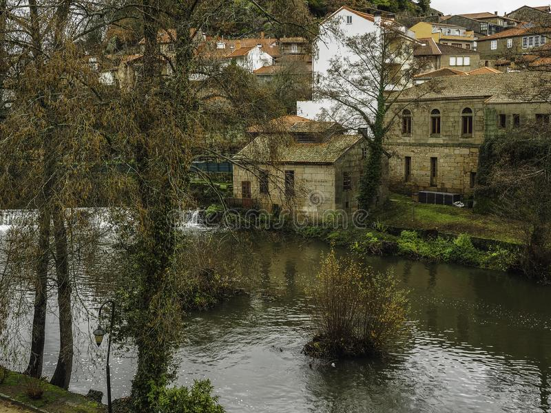 River and medieval village of Allariz. The river as it passes through the medieval village of Allariz in Galicia, Spain royalty free stock photography