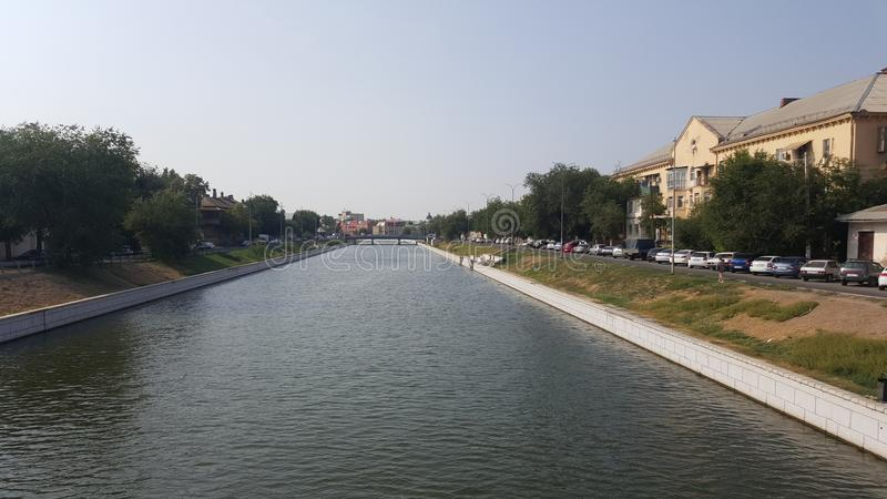 River in Astrakhan. Astrakhan city view royalty free stock images