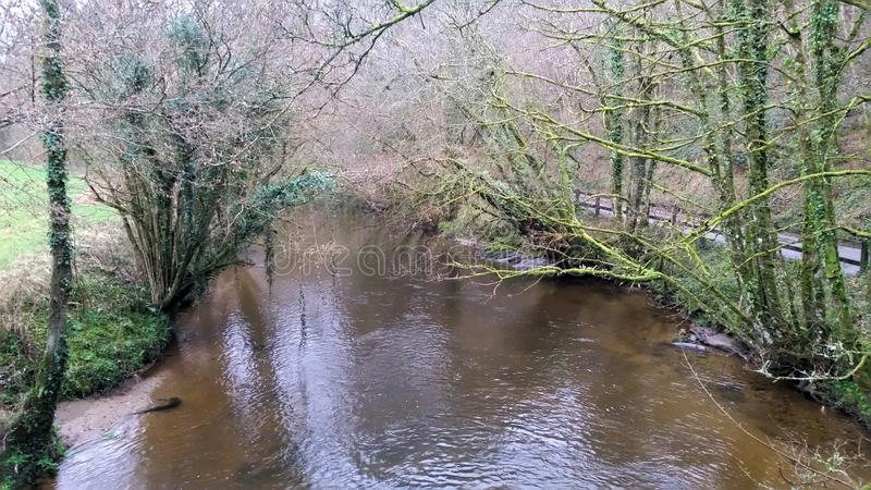 River Avon Gara Bridge Devon. River Avon starts on dartmoor and runs down to the sea stock photography
