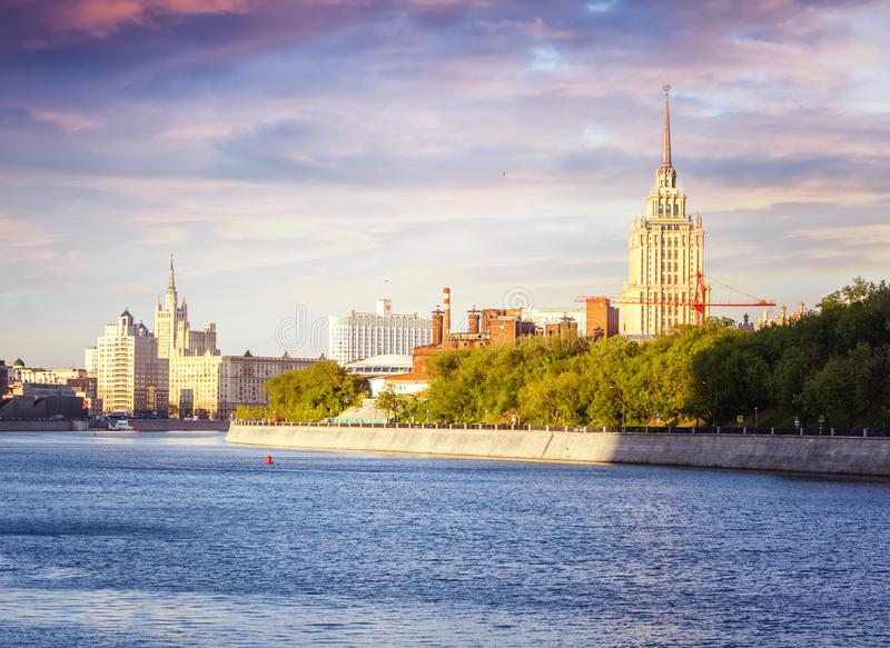The river bank in the center of Moscow, the capital of Russia, a royalty free stock photos