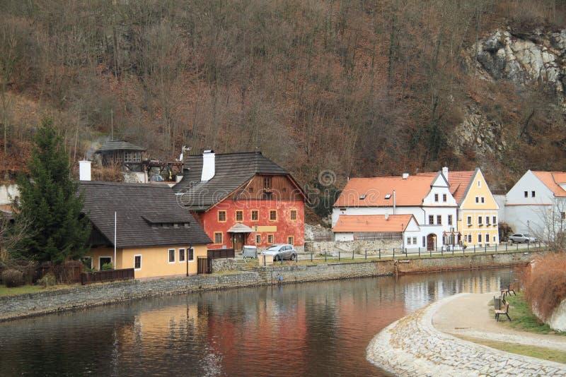 River bank in Cesky Krumlov royalty free stock photo