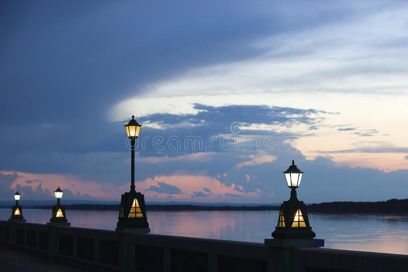 River bank in the evening royalty free stock image