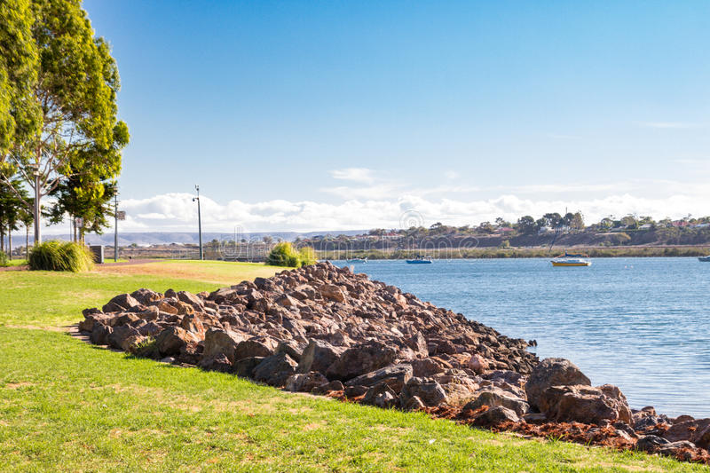 River bank in Port Augusta stock image