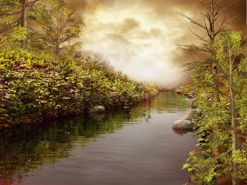 Download River bank with trees stock illustration. Image of water - 26554946