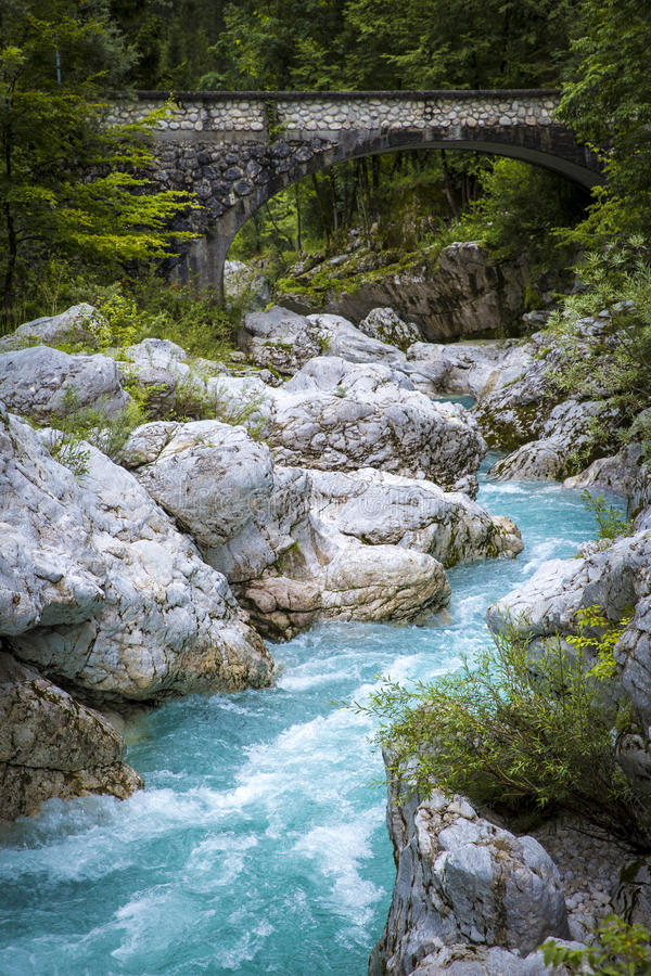 River bed of Soca. In Triglav National Park stock photography