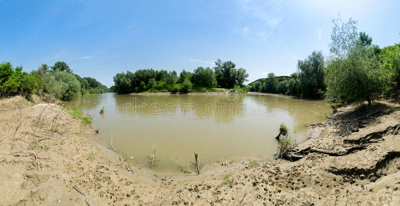 River bend on the Ialomita river, Romania. From shore royalty free stock image