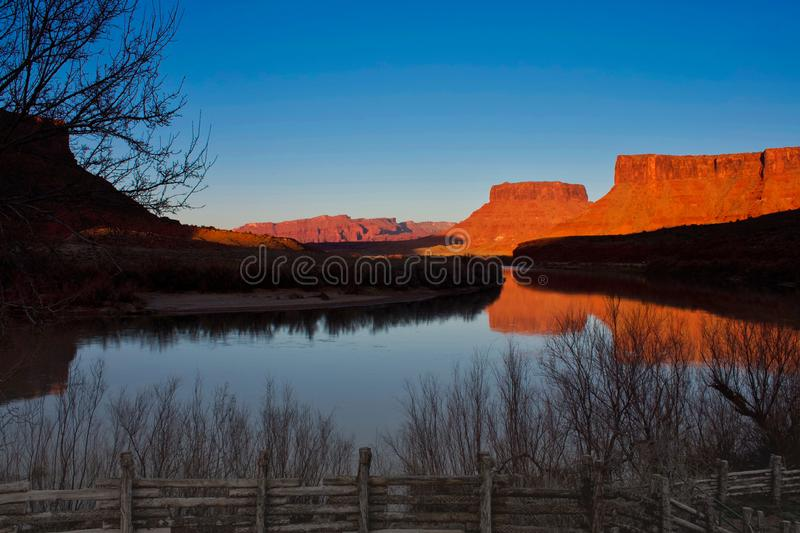 River Bend at Red Cliffs Lodge. Red Cliffs Lodge near Moab, Utah on the river bend at sunset royalty free stock image