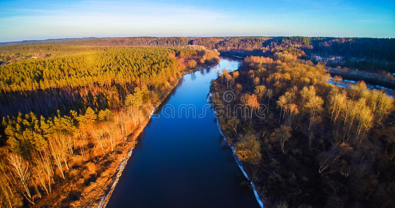 River from bird's view. River Neris aerial view at sunset light, Lithuania royalty free stock photo
