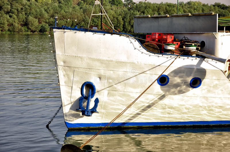 River boat with anchor royalty free stock photo
