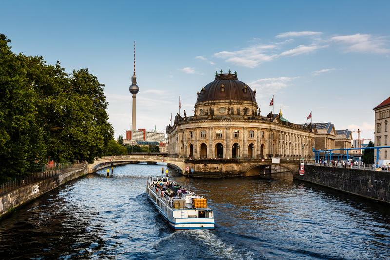 River Boat Approacing Museum Island, Berlin stock photography
