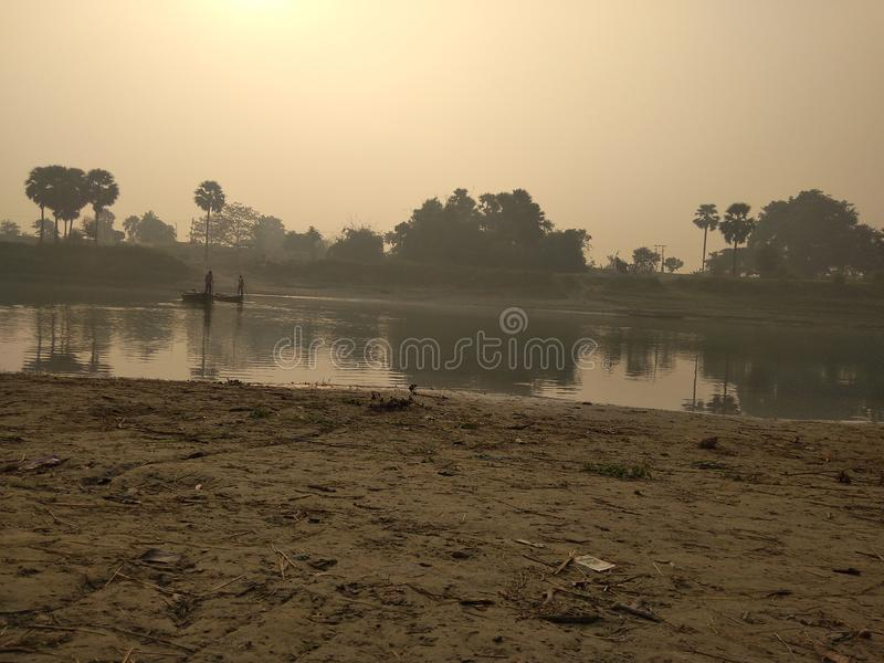 A river boat on the river bank.  royalty free stock photography
