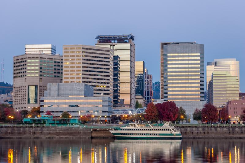 River boat ready for passengers. Morning sun cityscape of Portland, Oregon Willamette river water front stock photo