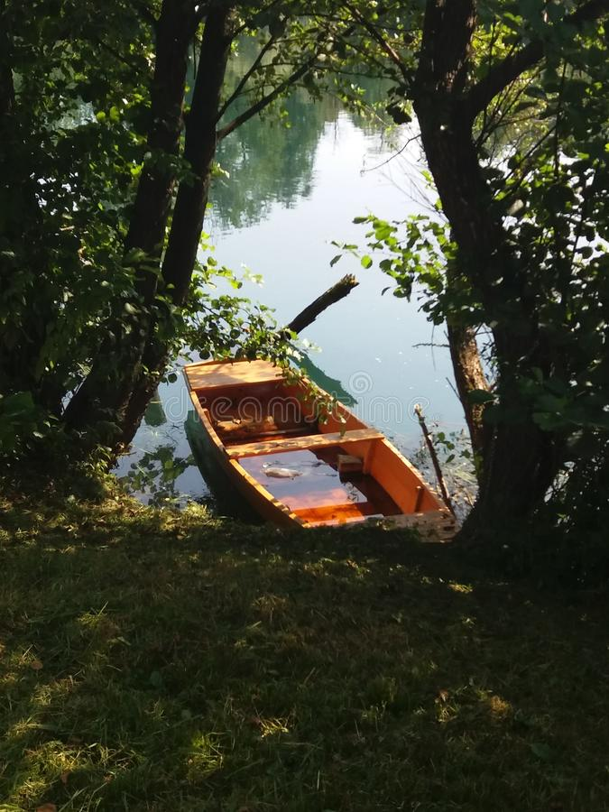 River boat on Una river in Bosnia stock photography