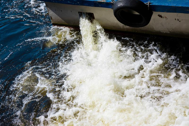 River boat using reverse speed. Water floating backward direction royalty free stock photography