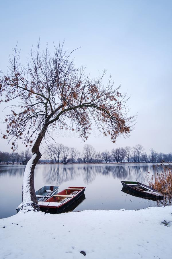 River boat on winter frozen river snow landscape stock photo