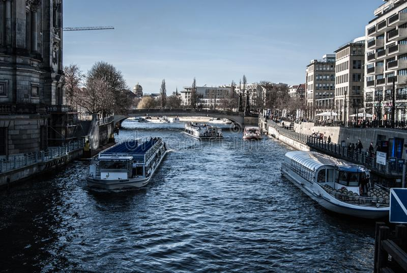 River Boats in Berlin. River boats, touristic attraction Berlin , Germany With a few dollars you can see all the good places in Berlin sitting on the boat royalty free stock photography