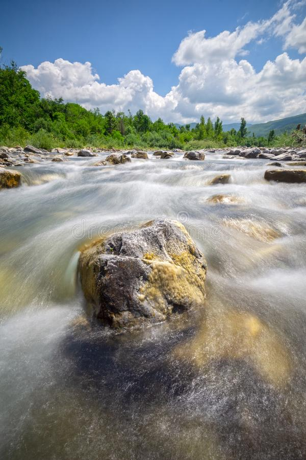 River Borbera stream with rock royalty free stock photos