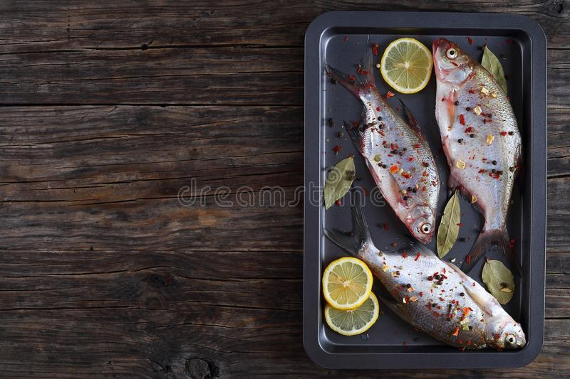 River bream marinated with lemon, spices stock photo