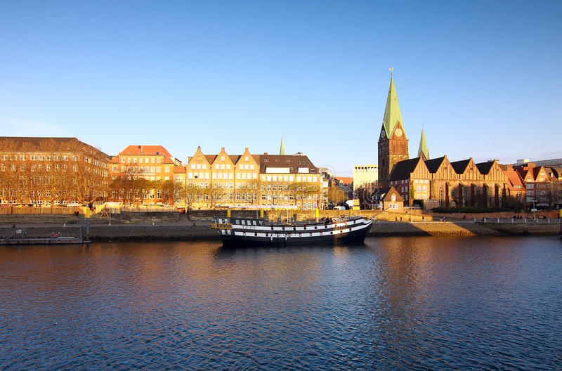 River in Bremen. View on river and church in Bremen during day stock photo