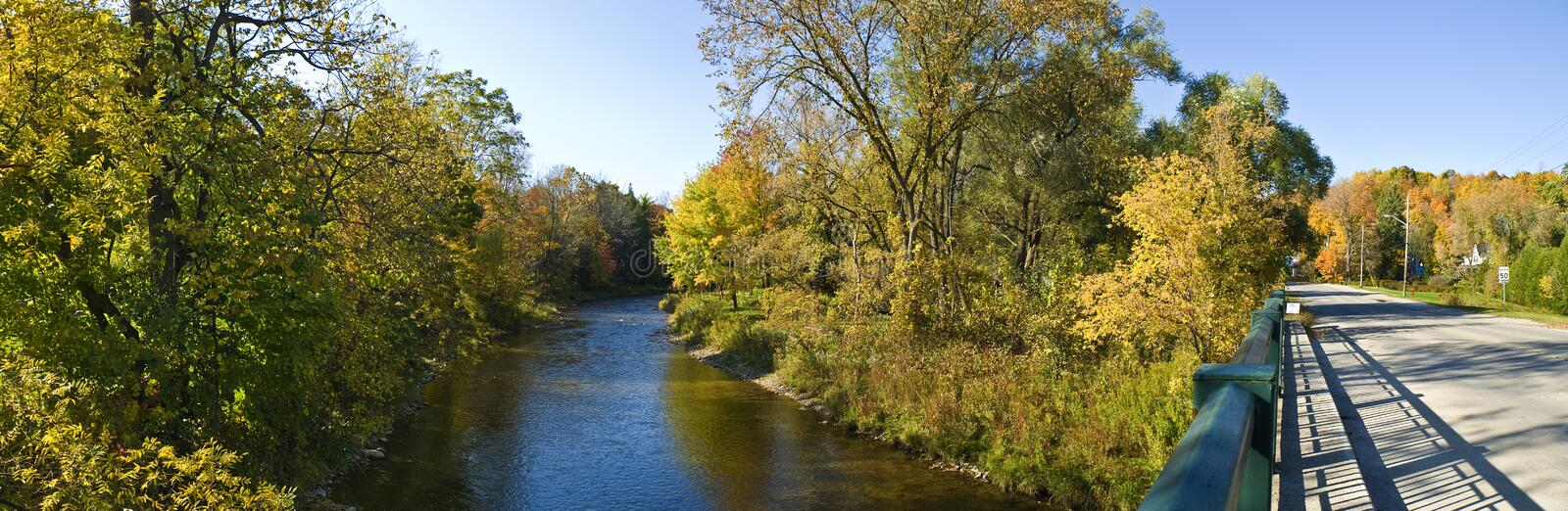 Download River And A Bridge In Autumn Stock Photo - Image: 16446986