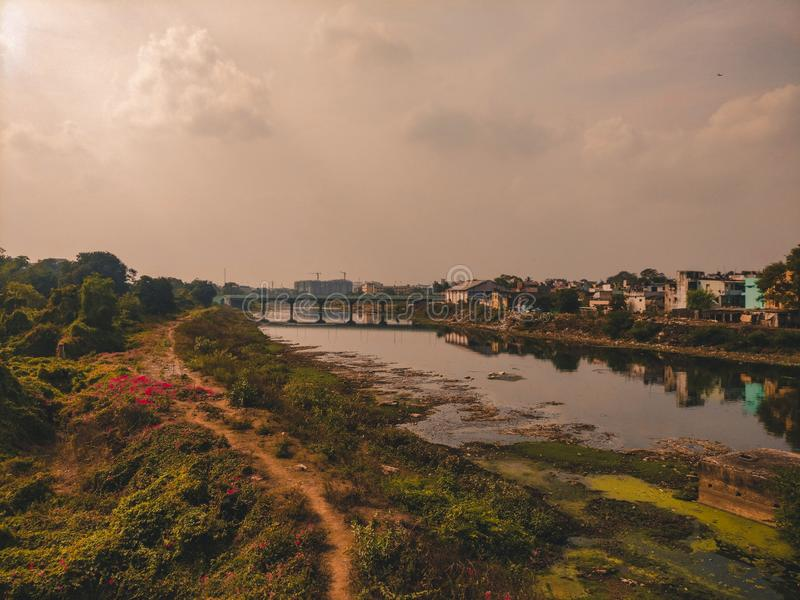 Adayar river from a suburban train royalty free stock photography