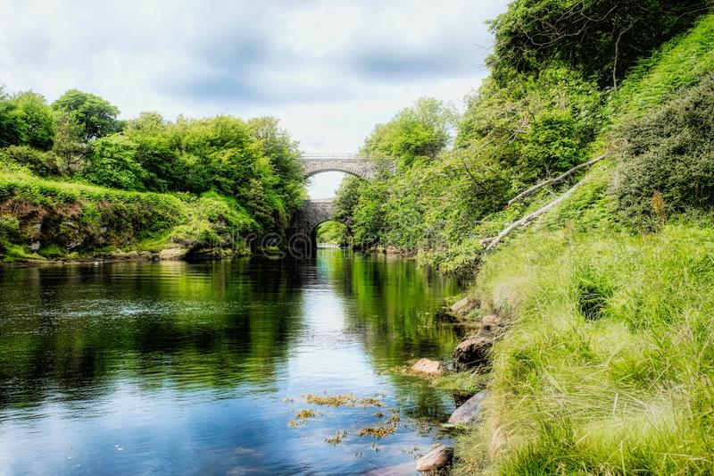 River Brora at high tide in summer stock photos