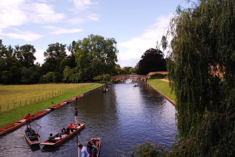 River Cam in the University of Cambridge in England. The college lies beside the River Cam and faces out onto King`s Parade in the centre of the city.King`s was royalty free stock photography