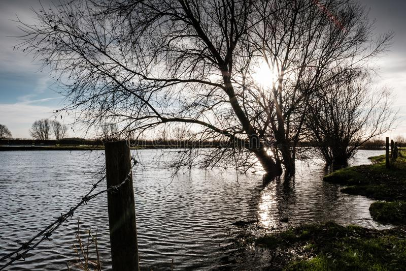 Localised flooding seen by a river bursting its banks after a spring tide. The river can be seen flooding to neighbouring fields caused by a combination of stock images