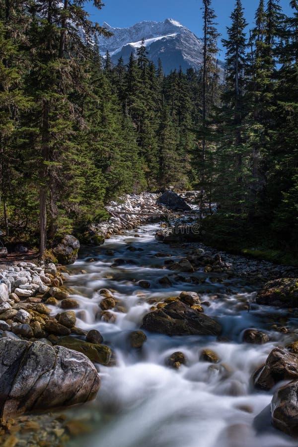 A river in Canada cascading through rocks stock photo