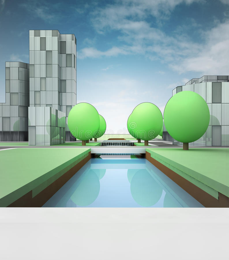 Download River Canal  In Town With Office Buildings Stock Illustration - Image: 32339371