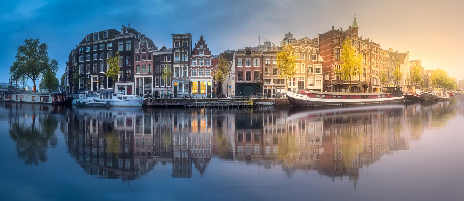 Download River, Canals And Traditional Old Houses Amsterdam Stock Photo - Image of facade, morning: 110355706