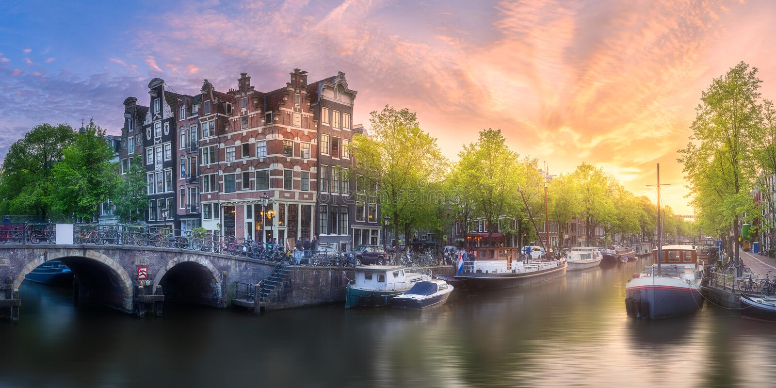 Download River, Canals And Traditional Old Houses Amsterdam Stock Image - Image of panoramic, facade: 111501181