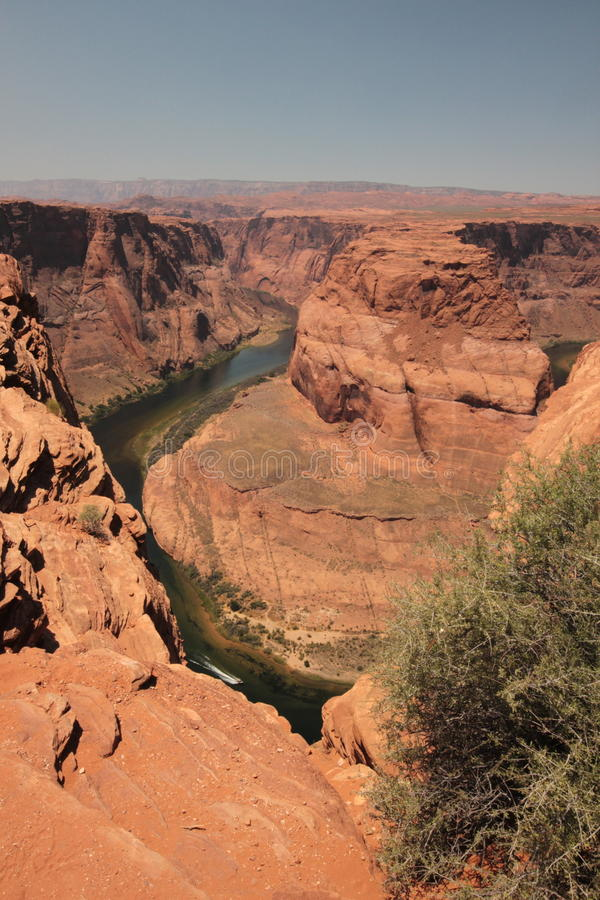 River canyon cut through red sandstone stock image