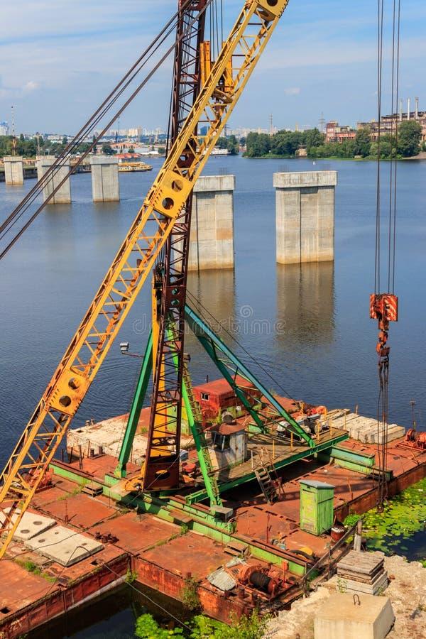 River cargo port in Kiev, Ukraine. River cargo port in Kiev in Ukraine royalty free stock photo
