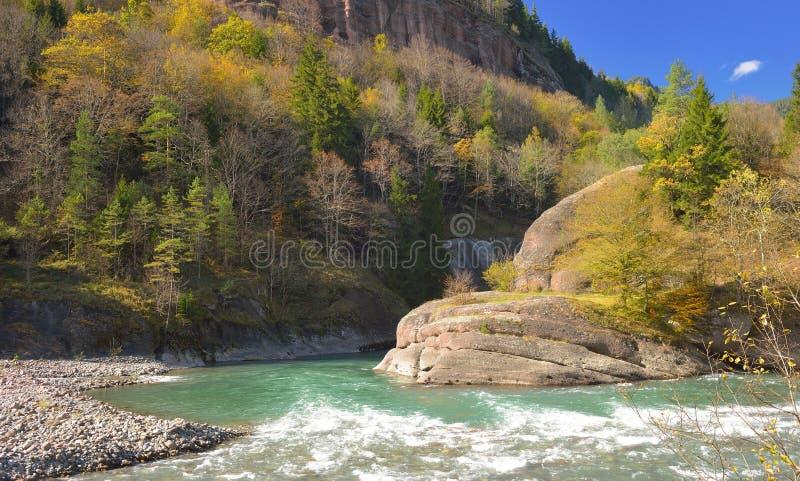 River in Caucasus in fall royalty free stock images