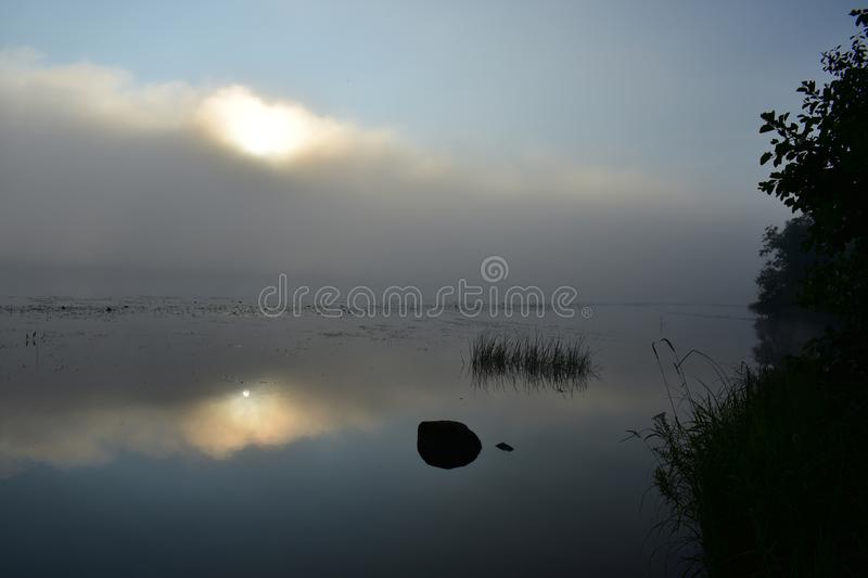 The river charming lovely summer`s morning an unusual sight in the new a warm summer. Day royalty free stock images