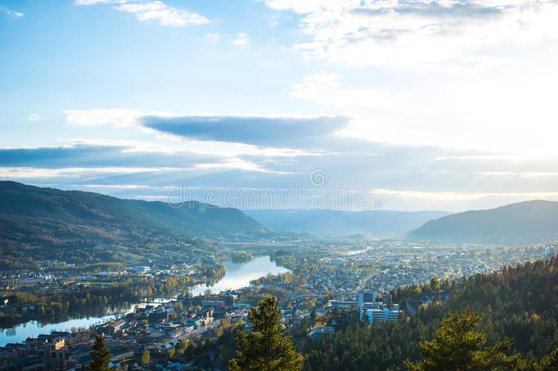 River city in the mountains stock images