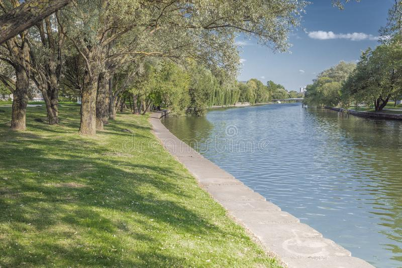 River in the city park. Beautiful landscape of summer. Trees along the river. Beauty nature scene royalty free stock images