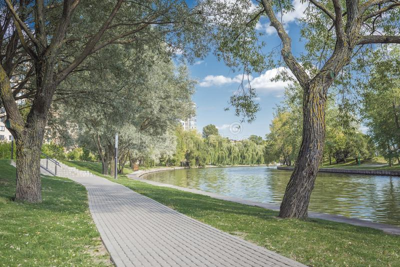 River in the city park. Beautiful landscape of summer. Trees along the river. Beauty nature scene royalty free stock image