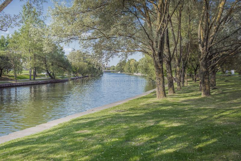 River in the city park. Trees along the embankment. Beauty nature scene stock image