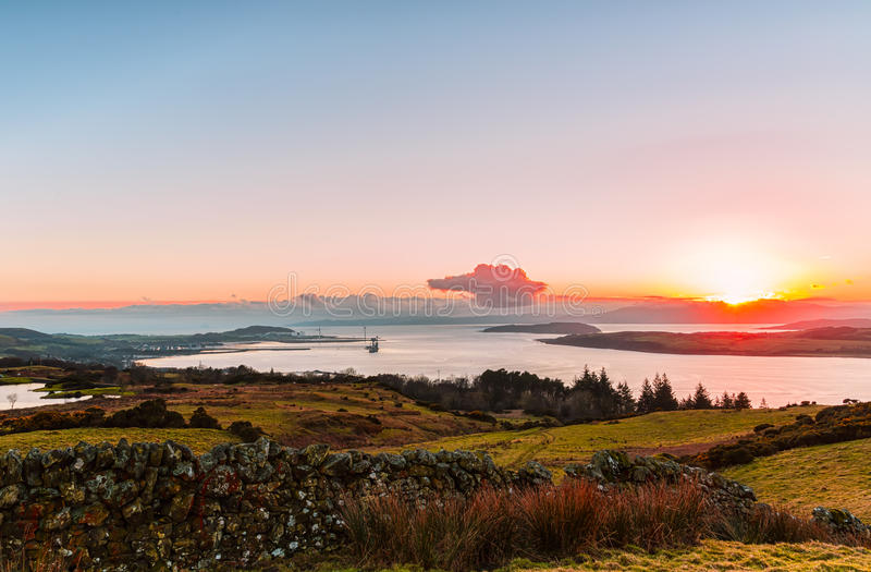 River Clyde Over Huntertston and Arran in the distance royalty free stock photo