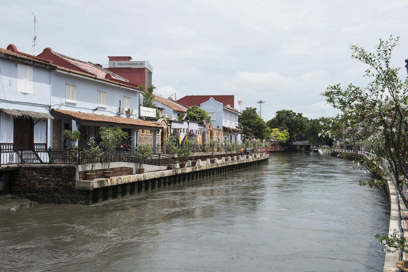 River with colonial Dutch style houses. Melaka, Malaysia stock images