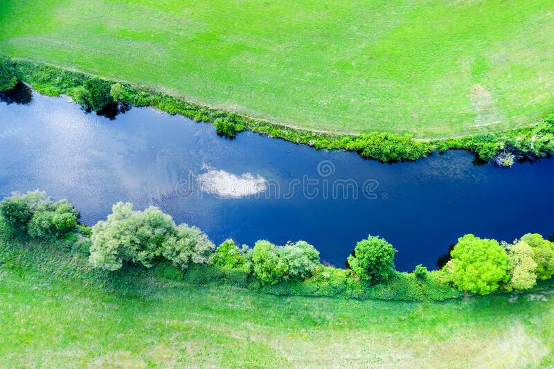 River course in nature from above stock images