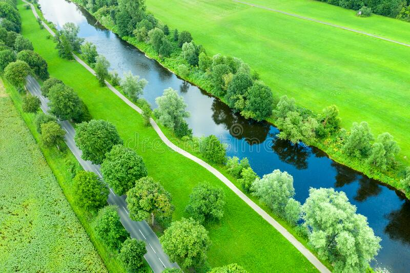 River course and traffic routes in nature from above royalty free stock photography