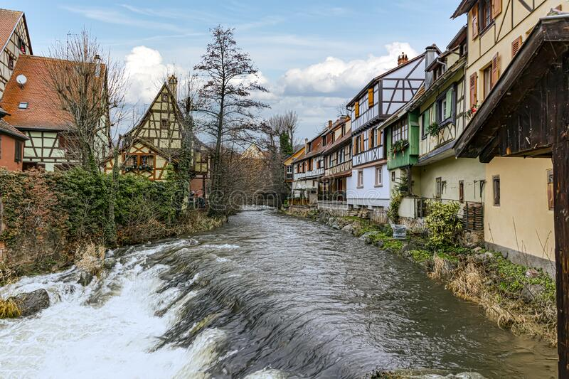 River crossing Kaysesberg in Alsace stock image