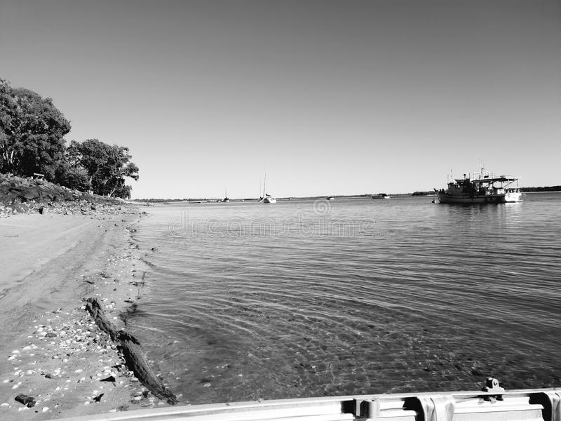 River days. Water boat black white landscapes beautiful royalty free stock photography